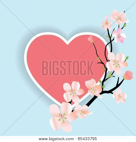 Spring vector floral background with sakura branch and heart