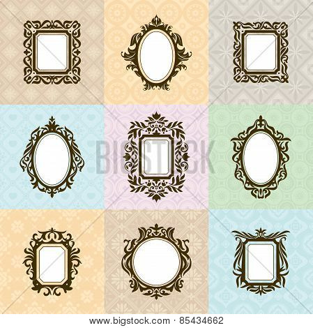 Set Of Vintage Frames Vector Illustration