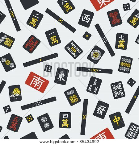 Seamless pattern with mahjong (majiang) elements