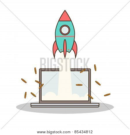Isolated cartoon rocket and laptop online start up