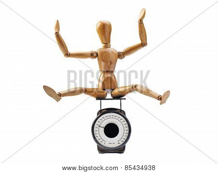 Happy Wooden Dummy And Measuring Instrument