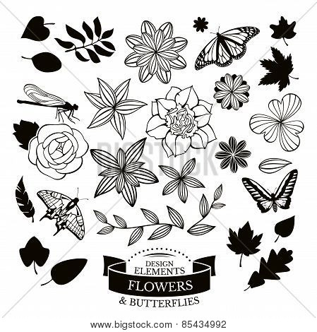 Set Of Flowers And Insects Vector Illustration