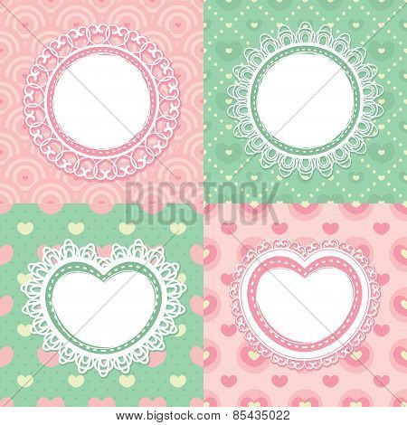 Set Of Lace Frames With Circles And Hearts