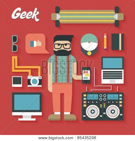 Vector illustration: Flat Icons Set of Trendy Geek Items