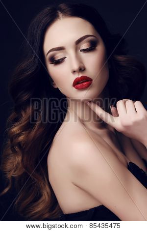 Beautiful Sexy Woman With Dark Hair And Bright Makeup
