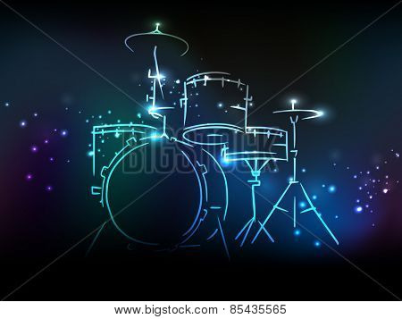 Elegant illustration of drum set with neon effect on shiny colorful background.