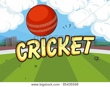 Red ball on cloudy stadium background for Cricket concept.
