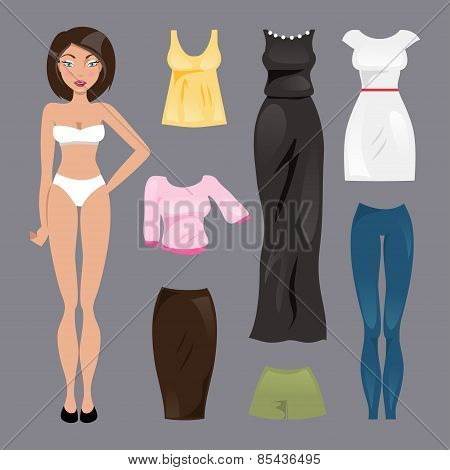 Template Paper Doll. Vector Illustration