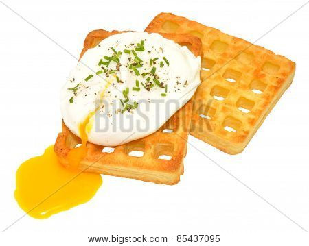 Poached Egg On Potato Waffles