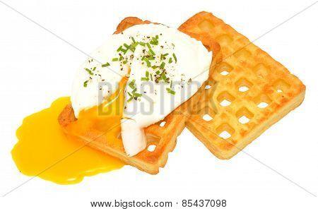 Poached Egg On Potato Waffles