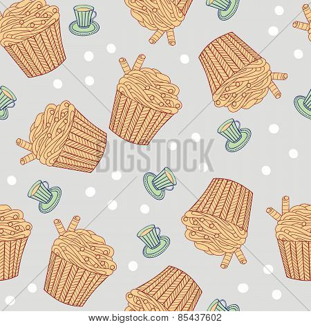 Seamless Pattern With Muffins And Cups