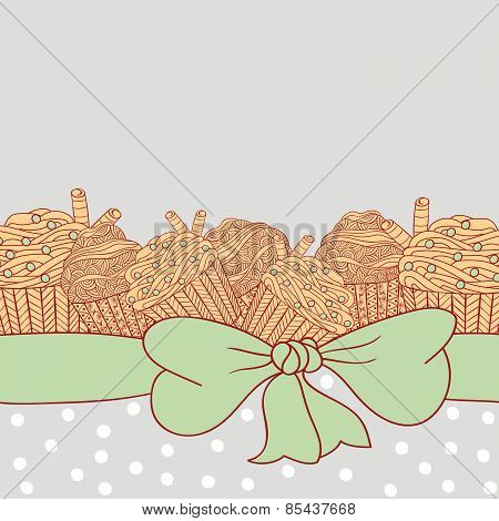 Card With Muffins Tied With Ribbon And Bow