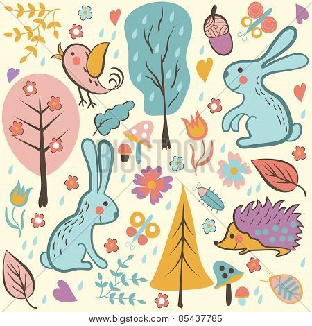 Cartoon Forest Seamless Pattern.