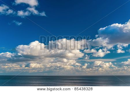 Beautiful sea with blue sky and clouds