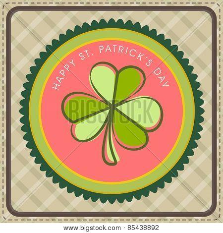 St. Patrick's Day celebration vintage greeting card with green Shamrock leaf.
