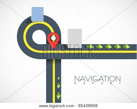 Road map navigation with red pointer on grey background.