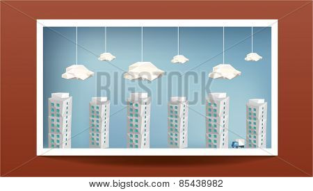 Picture with Cityscape on Wall. Vector Illustration