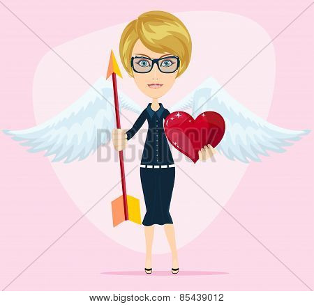Beautiful girl cupid, vector illustration