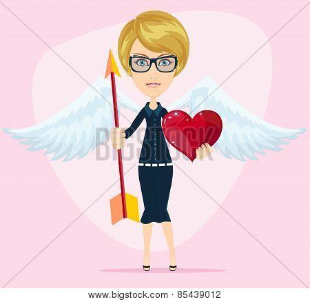 Beautiful girl cupid, vector illustration
