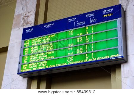 Train Station Timetable In Capital Of Lithuania Vilnius City