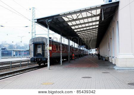Train Station In Capital Of Lithuania Vilnius City