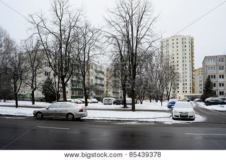 Winter In Capital Of Lithuania Vilnius City Zirmunai District