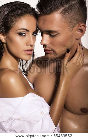 Sexy Impassioned Couple Posing In Studio