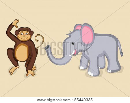 Cute cartoon of smiling elephant and monkey characters