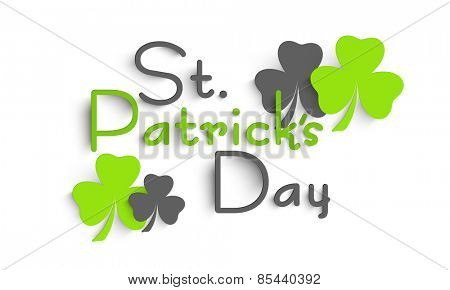 Happy St. Patrick's Day celebration poster or banner design decorated with shiny shamrock leaves on white background.