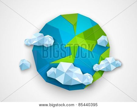 Creative origami globe with clouds on grey background for Earth Day celebration.