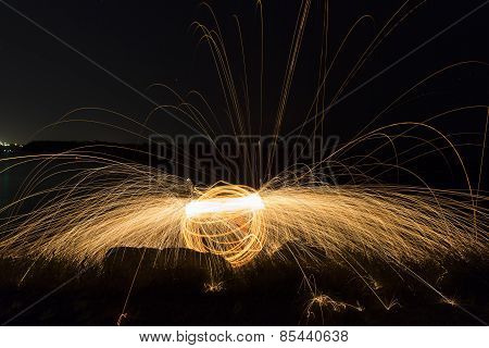 Steel Wool Spinning sphere 20 second exposure