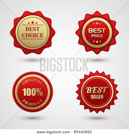Set of Gold red best choice badge
