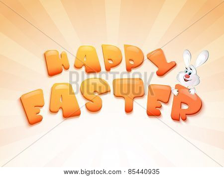 Glossy text Happy Easter with cute smiley rabbit on abstract rays background, can be used as poster or banner.