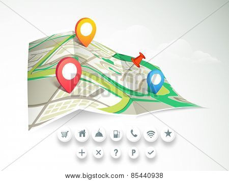 City map with colorful 3D pointers and navigation icons on cloudy background.