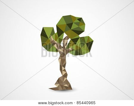 Earth Day celebration with creative origami tree on shiny grey background.