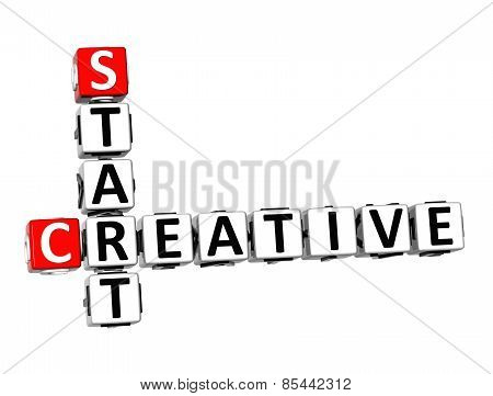 3D Crossword Creative Start On White Background