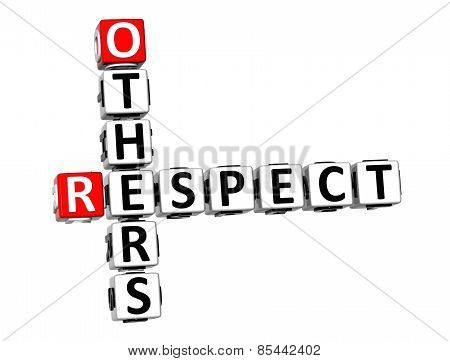 3D Crossword Respect Others On White Background