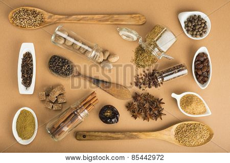 Brown Spices On A Brown Background