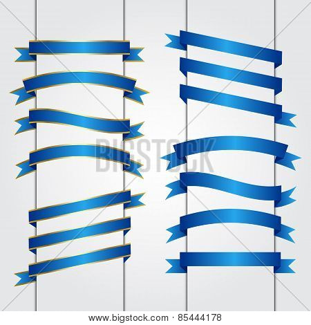 Set of blue ribbon banners Vector graphic