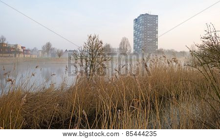 Highrise along the shore of a canal at sunrise