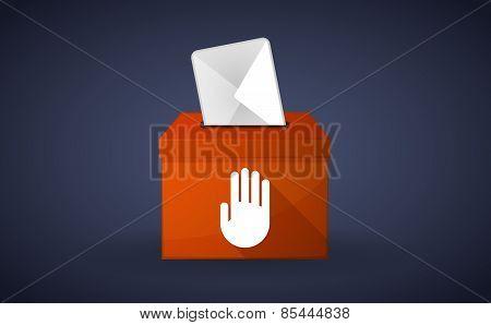 Orange Ballot Box With A Hand