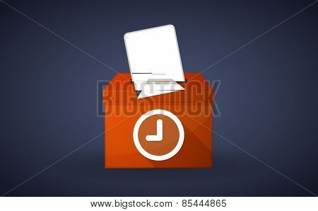 Orange Ballot Box With A Rock Hand
