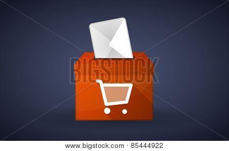Orange Ballot Box With A Shopping Cart