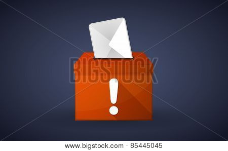 Orange Ballot Box With An Exclamation Sign