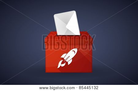 Red Ballot Box With A Rocket