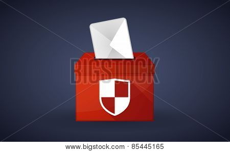 Red Ballot Box With A Shield