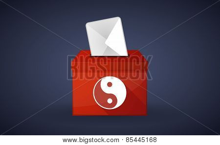 Red Ballot Box With A Ying Yang