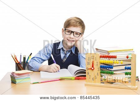 School Child Students Education, Pupil Boy In Glasses Learn Lesson, Kid With Book And Clock