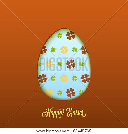 Happy Easter card with cut egg