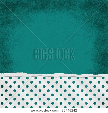 Square Teal And White Polka Dot Torn Grunge Textured Background